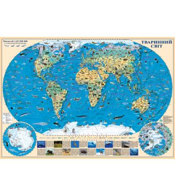 Карта Животный мир М1:54500000, 65*45см картон с планками