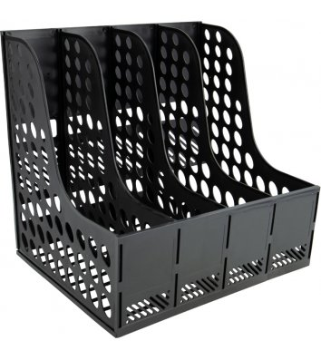 Лоток вертикальний збірний на 4 відділення пластиковий чорний, Axent