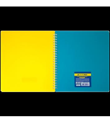 Блокнот B5 96л клетка с разделителем, боковая спираль желто-голубой, Buromax