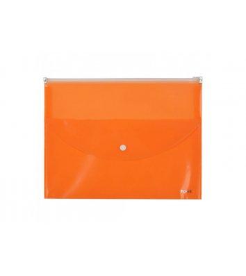 Папка-конверт А4 на молнии пластиковая 2 отделения оранжевая, Axent