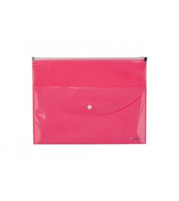 Папка-конверт А4 на молнии пластиковая 2 отделения розовая, Axent