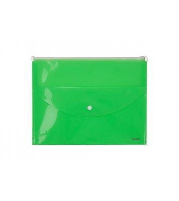 Папка-конверт A4 zip-lock 2 відділення салатова, Axent
