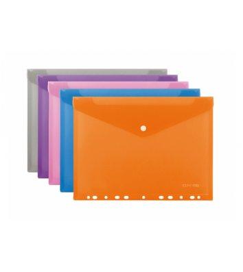 Папка-конверт А4 на кнопке пластиковая с перфорацией ассорти, Economix