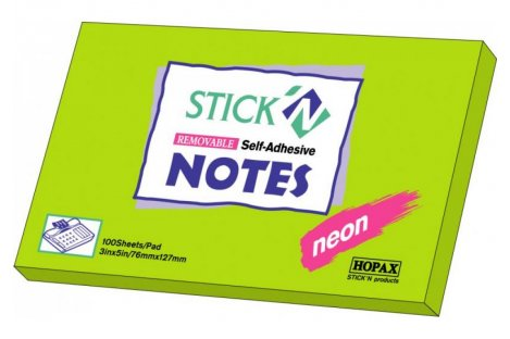 Стікери 76*127мм 100арк неоновий зелений, Stick`n