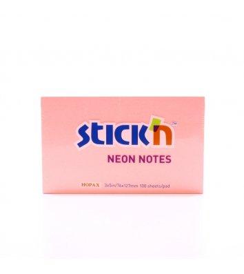 Стикеры 76*127мм 100л неоновый розовый, Stick'n