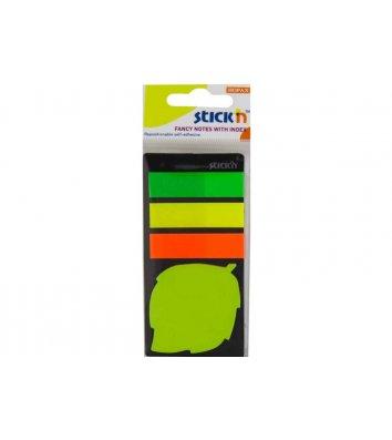 Стикеры-закладки пластиковые 12*45мм 75л, 44*44мм 20л 4 неоновых цвета ассорти, Stick'n