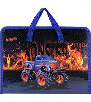 Портфель А4 пластиковий на блискавці 1 відділення Monster Truck, Kite