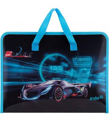 Портфель А4 пластиковий на блискавці 1 відділення Racing night, Kite