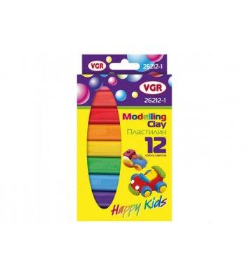 """Пластилін восковий 12 кольорів 200г """"Happy Kids"""", VGR"""