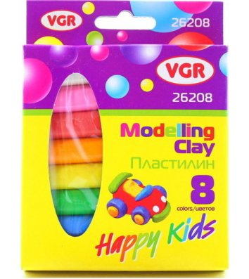 """Пластилін восковий  8 кольорів 135г """"Happy Kids"""", VGR"""
