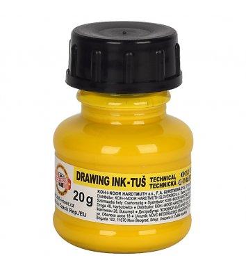 Туш для креслення 20г колір чорнил жовта, KOH-I-NOOR