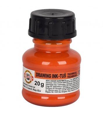 Тушь для черчения 20г цвет чернил оранжевый, KOH-I-NOOR