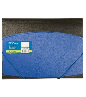Папка А4 пластикова на гумках чорна з синім, Buromax