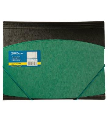 Папка А4 пластикова на гумках чорна з зеленим, Buromax