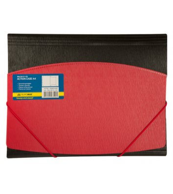 Папка А4 пластикова на гумках чорна з червоним, Buromax