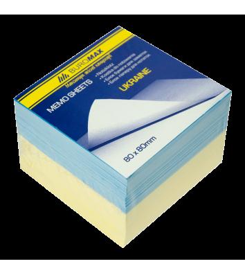 Бумага для заметок 80*80мм 600л желто-голубая непроклеенная, Buromax
