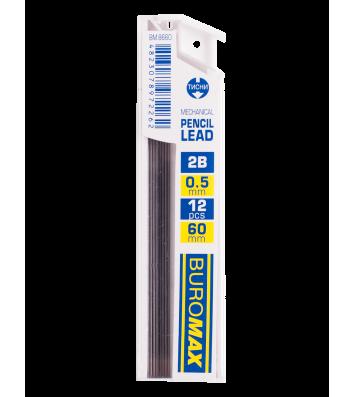 Стрижні до механічного олівця 2B 0,5мм 12шт, Buromax