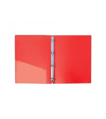 Папка А4 пластиковая на 4 кольца 30мм красная, Economix