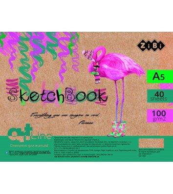 Скетчбук Art Line А5 40арк на пружині білий блок, Zibi