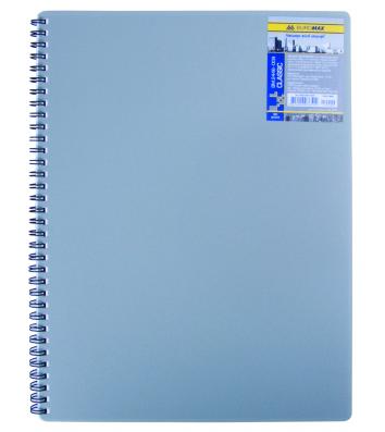 Блокнот A6 80л клетка Classic, боковая спираль серый, Buromax