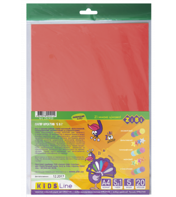 Бумага цветная Креатив А4 20л, Zibi