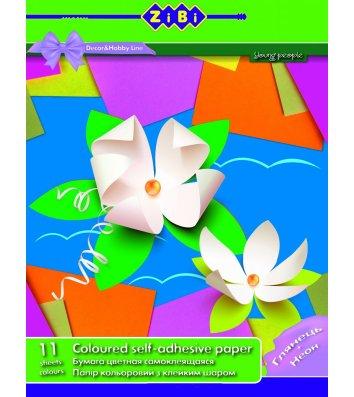 Папір кольоровий самоклеючий А4 11арк 11 кольорів, Zibi