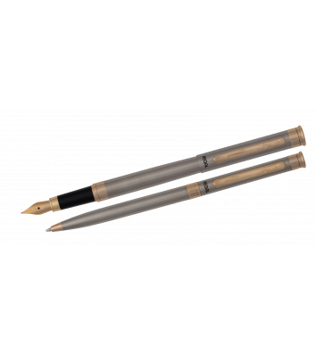 Набір ручка кулькова та ручка перова, колір корпусу сріблястий, Regal