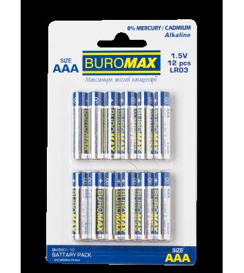 Батарейка LR03/ААА 1.5V 12шт, Buromax