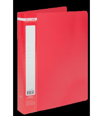 Папка А4 пластиковая 40 файлами красная Jobmax, Buromax