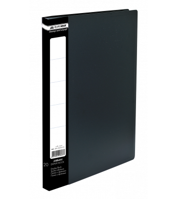 Папка А4 пластикова з 20 файлами чорна Jobmax, Buromax