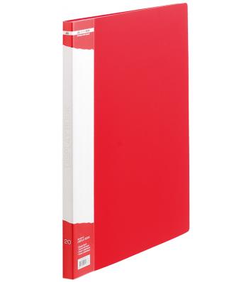 Папка А4 пластикова з 20 файлами червона Jobmax, Buromax