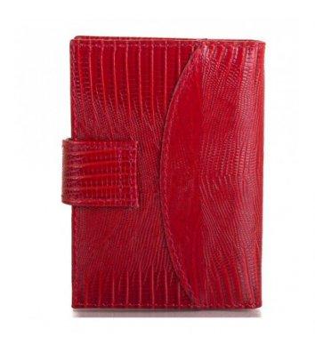 Візитниця для 20 візиток шкіряна червона croco, Canpellini
