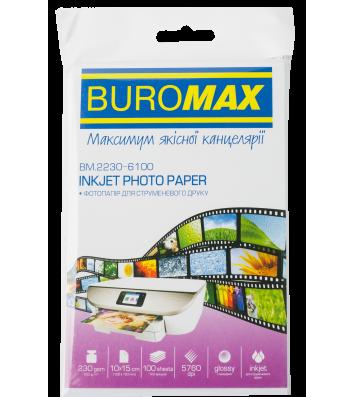 Фотопапір глянцевий 10*15см 230г/м2 100арк, Buromax