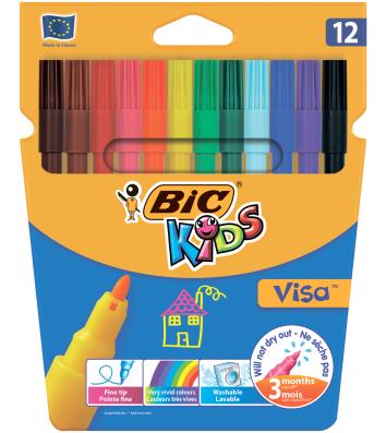 """Фломастери 12 кольорів """"Кідс Віза"""", Bic"""