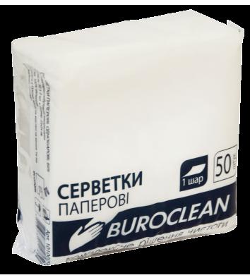 Салфетки бумажные однослойные 50шт 24*24см белые, BuroClean