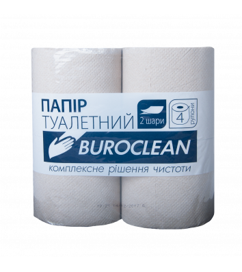 Папір туалетний двошаровий 4рул/уп Buroclean, сірий