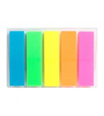 Стикеры-закладки пластиковые 12*45мм 125арк 5 неоновых цветов ассорти, Axent