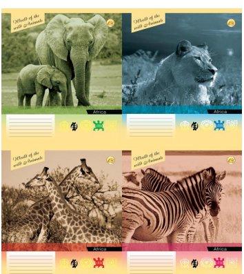 Тетрадь 24 листа клетка, обложка Животные в ассортименте
