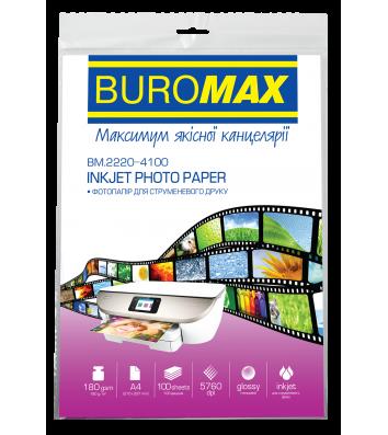 Фотопапір глянцевий А4 180г/м2  100арк, Buromax