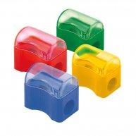 Чинка пластикова 1 лезо з контейнером асорті, Axent