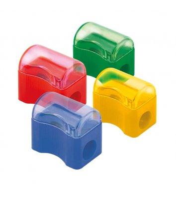 Чинка пластиковая 1 лезвие с контейнером ассорти, Axent
