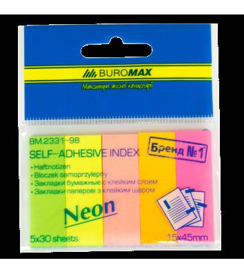 Стикеры-закладки бумажные 15*45мм 150л 5 неоновых цветов ассорти, Buromax
