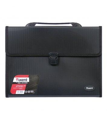 Портфель А4 пластиковый 3 отделения черный, Axent
