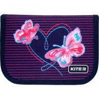Пенал твердый с наполнением 1 отделение 2 отворота на молнии Education Butterflies, Kite