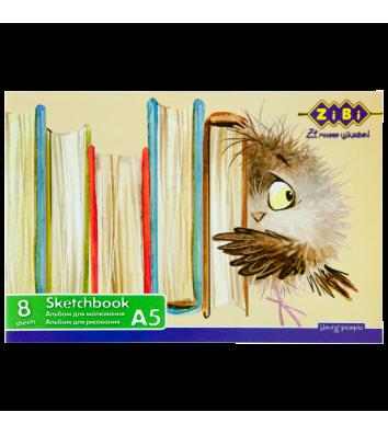 Альбом для малювання А5 8арк на скобі, Zibi