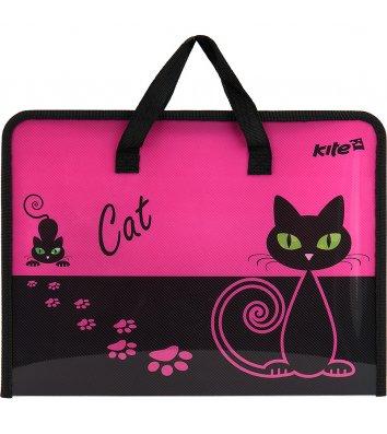 Портфель А4 пластиковий на блискавці 1 відділення Black Cat, Kite