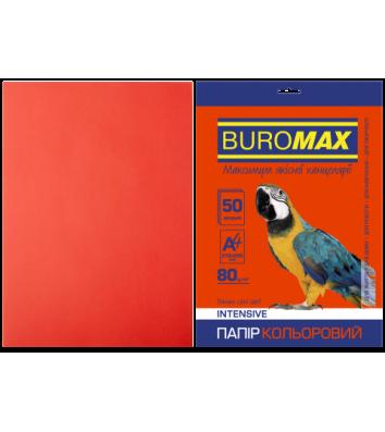 Папір А4  80г/м2  50арк кольоровий інтенсивний червоний, Buromax