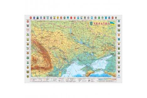 Оглядова карта України 65*45см картонна з планками