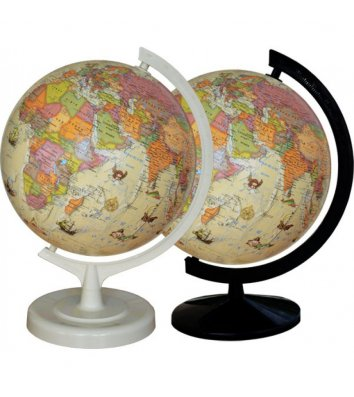 Глобус d32см Політичний з підсвічуванням, дерев'яна підставка