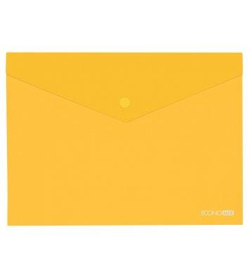 Папка-конверт В5 на кнопці пластикова прозора жовта, Economix
